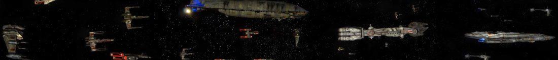 Vue panoramique du diorama de la flotte rebelle de Sullust, durant la bataille d'Endor