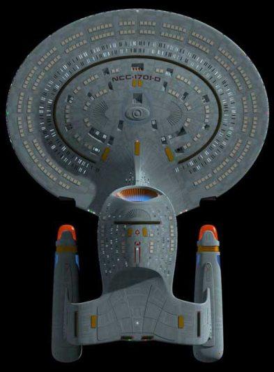USS Enterprise NCC-1701-D - Star Trek Next Generation. Vue de dessous.
