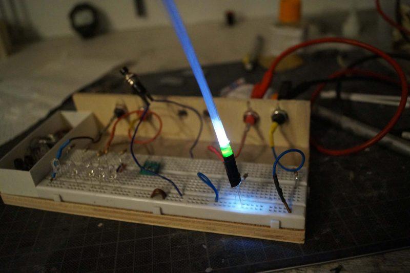 Optical fiber harmess, lighted up.