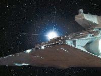 Destroyer stellaire impérial. Fond étoilé, vue 3/4 arrière.