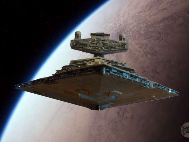 Destroyer stellaire impérial. Fond Tatooine, pont net.