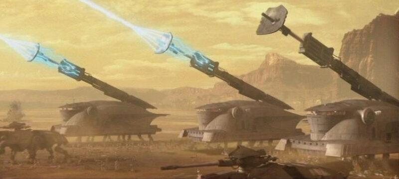 les marcheurs dans Star Wars : SPHA-T lors de la bataille de geonosis