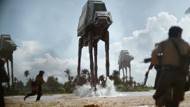 les marcheurs dans Star Wars : AT-ACT lors de la bataille de Scarif