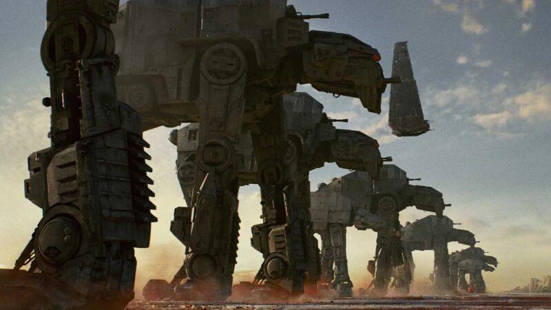 les marcheurs dans Star Wars : AT-M6 lors de la bataille de Crait