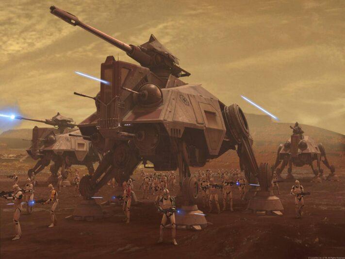 les marcheurs dans Star Wars : AT-TE lors de la bataille de Geonosis