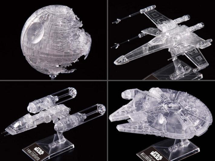 Clear Vehicules de Bandai : X-Wing, Y-Wing, Faucon Millenium et Death Star