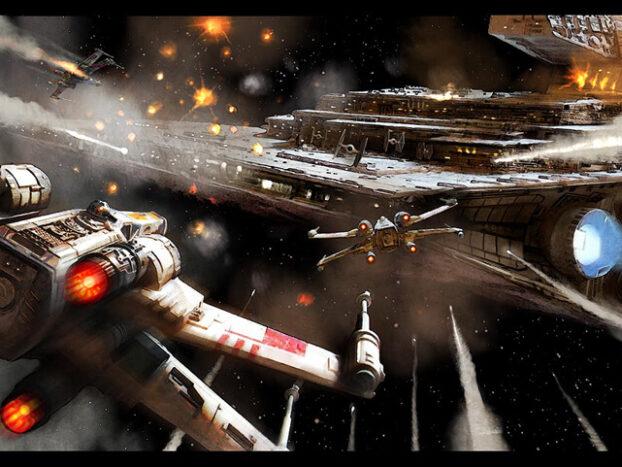 Illustration de l'attaque d'un destroyer stellaire impérial par une escadron de X-Wings